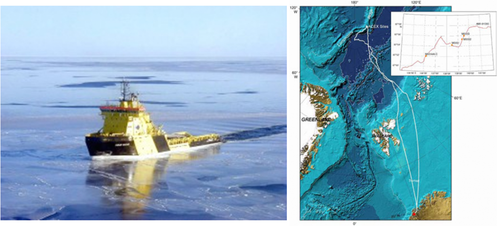 The ACEX drillship Vidar Viking (left) and the drilling location close to the North Pole (right).