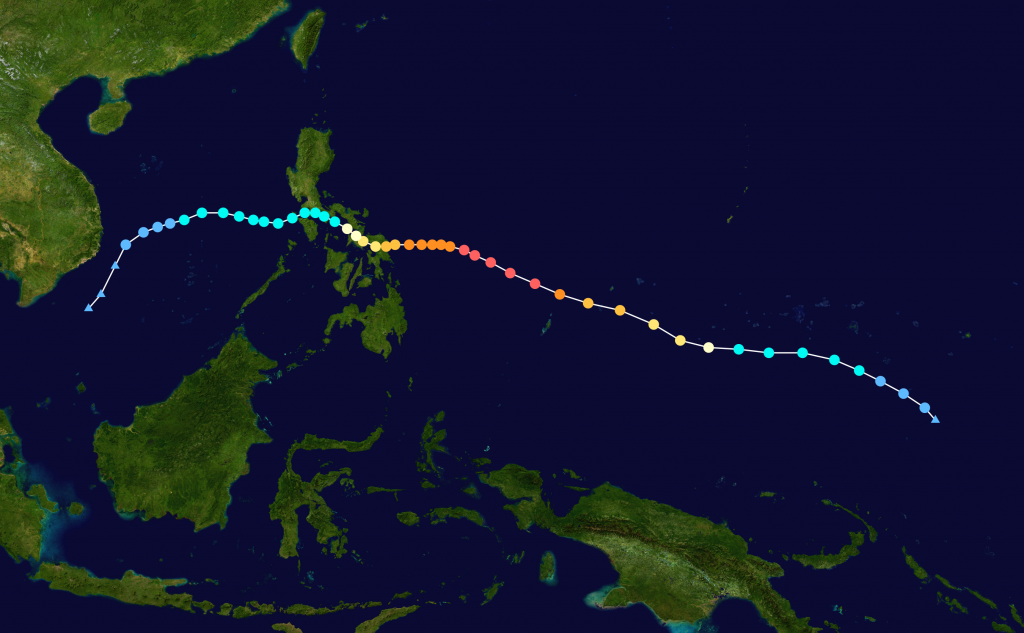 Map plotting the track and intensity of the storm according to the Saffir–Simpson hurricane wind scale. Image from https://en.wikipedia.org/wiki/Typhoon_Hagupit_(2014)#/media/File:Hagupit_2014_track.png