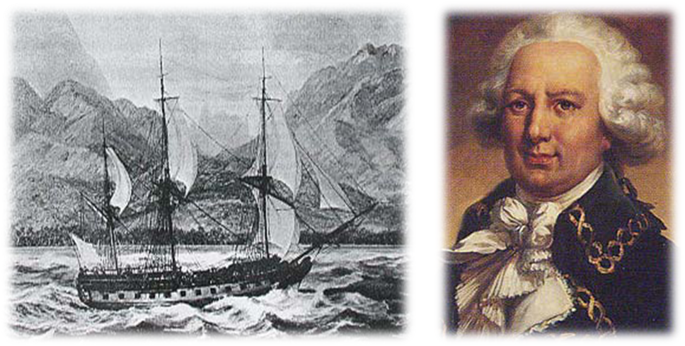 Louis-Antoine de Bougainville and his ship La Boudeuse