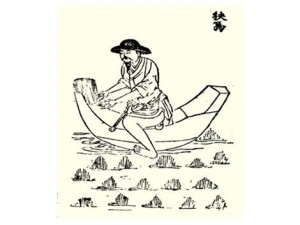 Chinese farmer inoculating a rice paddy with Azolla 1500 years ago