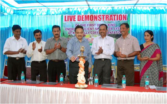 Inauguration of the state-of-the-art energy-efficient sprinkler systems, with the Chairman of the Indian Coffee Board (centre) as the chief guest. Anand and Geeta Pereira are on the right of the picture.